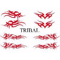 Stickers Tribal - Tattoo Set Adhesifs -ELEMENT TRIBAL- Rouge - Car Deco SM