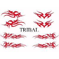 Stickers Tribal - Tattoo Set Adhesifs -ELEMENT TRIBAL- Rouge - Car Deco SM - ADNAuto