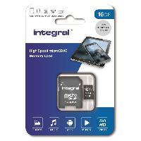 Stockage Externe INTEGRAL MEMORY Micro SDHC 16GB Haute Vitesse 100MB-s de vitesse de transfert