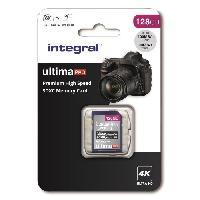 Stockage Externe INTEGRAL MEMORY Premium High Speed SDHC-XC V30 UHS-I U3 Carte SDXC 128GB