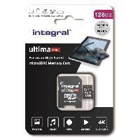 Stockage Externe INTEGRAL MEMORY Premium High Speed V30 UHS-I U3 Micro SDXC 128GB 100MB/s en lecture et 90MB/s en écriture 4K