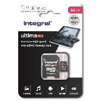 Stockage Externe INTEGRAL MEMORY Premium High Speed V30 UHS-I U3 Micro SDXC 64GB 100MB-s en lecture et 70MB-s en ecriture 4K