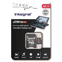 Stockage Externe INTEGRAL MEMORY Premium High Speed V30 UHS-I U3 Micro SDXC 64GB 100MB/s en lecture et 70MB/s en écriture 4K