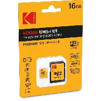 Stockage Externe KODAK Class10 U1 Carte mémoire microSDHC - 16 GB - Avec adaptateur