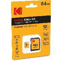 Stockage Externe KODAK Class10 U1 Carte memoire microSDHC - 64 GB - Avec adaptateur