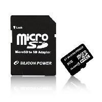 Stockage Externe SILICON POWER Carte memoire microSD SDHC Class 10 - 8 Go