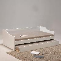 Structure De Lit COSY Lit banquette contemporain laque blanc + sommier en bois epicea massif - l 90 x L 190 cm