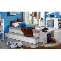 Structure De Lit PEDRO Lit enfant gigogne 90x200cm coloris blanc