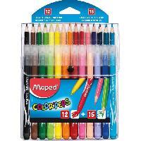Stylo - Parure De Stylo - Recharge Etui de 15 Crayons de couleurs + 12 Feutres Color'peps - Assortis