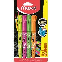 Stylo - Parure De Stylo - Recharge MAPED Assortiment de 5 stylos fluo Peps + 3 couleurs assorties