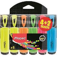Surligneur - Recharge MAPED - Assortiment de 4 surligneurs classiques + 2 couleurs assorties
