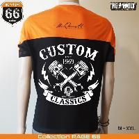 T-shirt - Debardeur Tshirt CUSTOM CLASSICS style biker chopper Harley noir et orange by RE-Wolt - Collection RAGE 66 - Taille XL