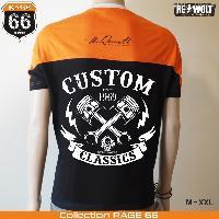 T-shirt - Debardeur Tshirt CUSTOM CLASSICS style biker chopper Harley noir et orange by RE-Wolt - Collection RAGE 66 - Taille XXL