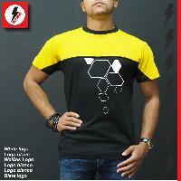 T-shirt - Debardeur Tshirt jaune et noir inspiration RENAULT SPORT by RE-Wolt - Collection losange blanc - Taille L