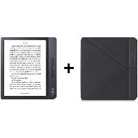 Tablette Pack KOBO : Liseuse Tactile Libra 7 - Stockage 8Go - Noire + Etui SleepCover Noir
