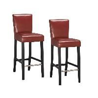 Tabouret De Bar ELVIS Lot de 2 tabourets de bar - Simili rouge - Contemporain - L 39 x P 49.5 cm - Generique