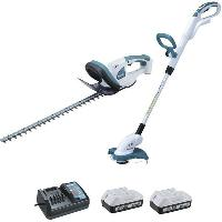 Taille-haie MAKITA Ensemble 2 machines DK18620X1 - 18V - Taille-haie UH522D - Coupe-herbe UR180D - 1 Chargeur DC18WA