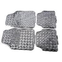 Tapis de sol Jeu de 4 Tapis de sol Look Aluminium - Universels - Carbone - ADNAuto