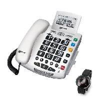 Telephonie Fixe GEEMARC Téléphone filaire grosses touches sénior SERENITIES avec télécommande design