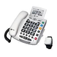 Telephonie Fixe GEEMARC Téléphone filaire grosses touches sénior SERENITIES avec télécommande détection de chute