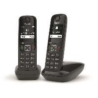 Telephonie Fixe GIGASET Téléphone Fixe AS690 Duo Noir