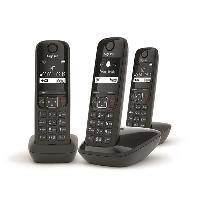 Telephonie Fixe GIGASET Téléphone Fixe AS690 Trio Noir