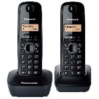 Telephonie Fixe Panasonic KX-TG1612FRH Duo Téléphone Sans Fil Sans Répondeur Noir