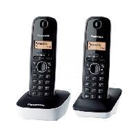 Telephonie Fixe Panasonic KX-TG1612FRW Duo Téléphone Sans Fil Sans Répondeur Noir Blanc