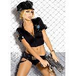 Tenue sexy noire Police - Taille SM