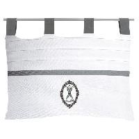 Tete De Lit Tete de lit brodee dehoussable Boudoir - 45x70 cm - Blanc