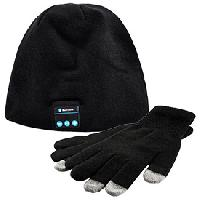 Textile Technique Pack Bonnet Stereo Bluetooth et Gants Tactiles - ADNAuto