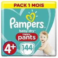 Toilette Bebe PAMPERS BABY-DRY PANTS Taille 4+ - 144 couches - Pack 1 mois