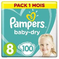 Toilette Bebe PAMPERS BABY-DRY Taille 8 - 100 couches - Pack 1 mois - Aucune