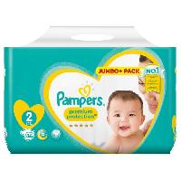 Toilette Bebe PAMPERS Premium protection NEW BABY Taille 2 - 86 couches - Pack Jumbo+