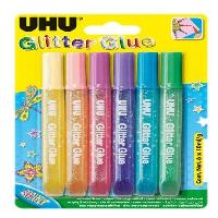 Tracage - Decoupage - Collage UHU - GLITTER GLUE SHINY 6x10 ml Tyc