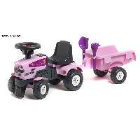 Tracteur - Vehicule Agricole - Vehicule De Chantier FALK Porteur Tracteur Princesse Rose avec remorque pelle et rateau