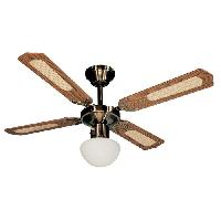 Traitement De L Air FARELEK - BALI O 107 cm - Ventilateur de plafond reversible Laiton Antique. 4 pales noyees - cannees noyer + eclairage