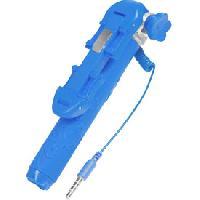 Trepied - Monopod Canne a selfie filaire + bouton declencheur bleu