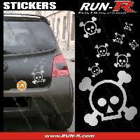Tuning Lot stickers tete de mort SKULL RAIN format A4 - ARGENT Run-R Stickers