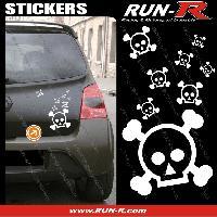 Tuning Lot stickers tete de mort SKULL RAIN format A4 - BLANC Run-R Stickers