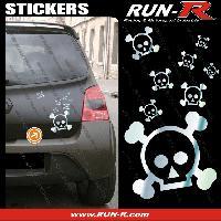Tuning Lot stickers tete de mort SKULL RAIN format A4 - CHROME