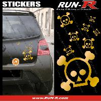 Tuning Lot stickers tete de mort SKULL RAIN format A4 - DORE