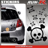 Tuning Lot stickers tete de mort SKULL RAIN format A4 - NOIR