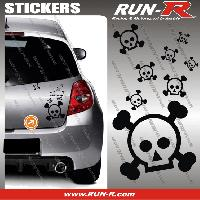 Tuning Lot stickers tete de mort SKULL RAIN format A4 - NOIR Run-R Stickers