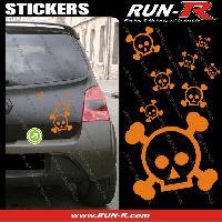 Tuning Lot stickers tete de mort SKULL RAIN format A4 - ORANGE Run-R Stickers