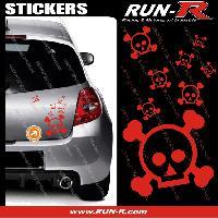 Tuning Lot stickers tete de mort SKULL RAIN format A4 - ROUGE Run-R Stickers
