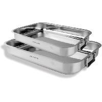 Ustensiles De Cuisine ARTHUR MARTIN AM279 Set de 2 plats a four Inox 30-35 cm - Acier inoxydable - Intérieur satiné - Anses a charniere en acier