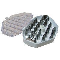 Ustensiles Patisserie DE BUYER Coffrets 26 douilles fines pour decor + adaptateur - Inox