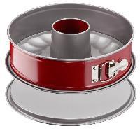 Ustensiles Patisserie TEFAL Moule a savarin Delibake en acier - Ø 25 cm - Rouge et gris - Avec charniere
