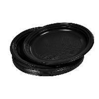 Vaisselle Jetable 20 assiettes plates jetables diametre 22 cm noir